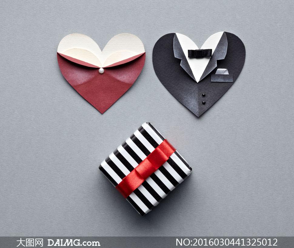 黑白条纹礼物盒与折纸创意高清图片