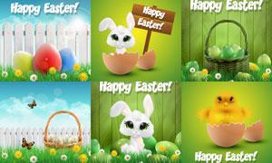花草篱笆与小兔子等复活节矢量素材