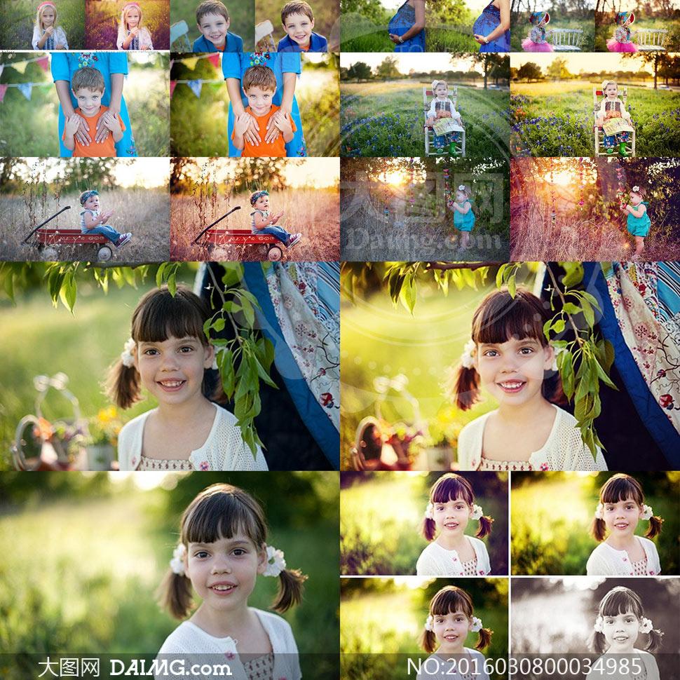 osp系列儿童照片唯美暖色效果ps动作