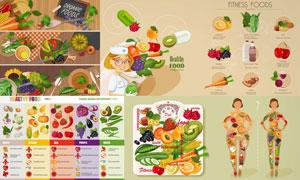 健康膳食营养摄入主题设计矢量素材