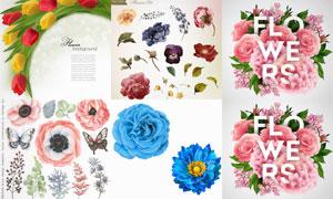 蝴蝶与郁金香花等花朵设计矢量素材