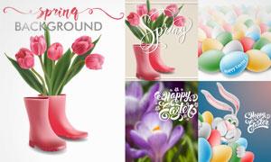 鲜艳郁金香与可爱的兔子等矢量素材