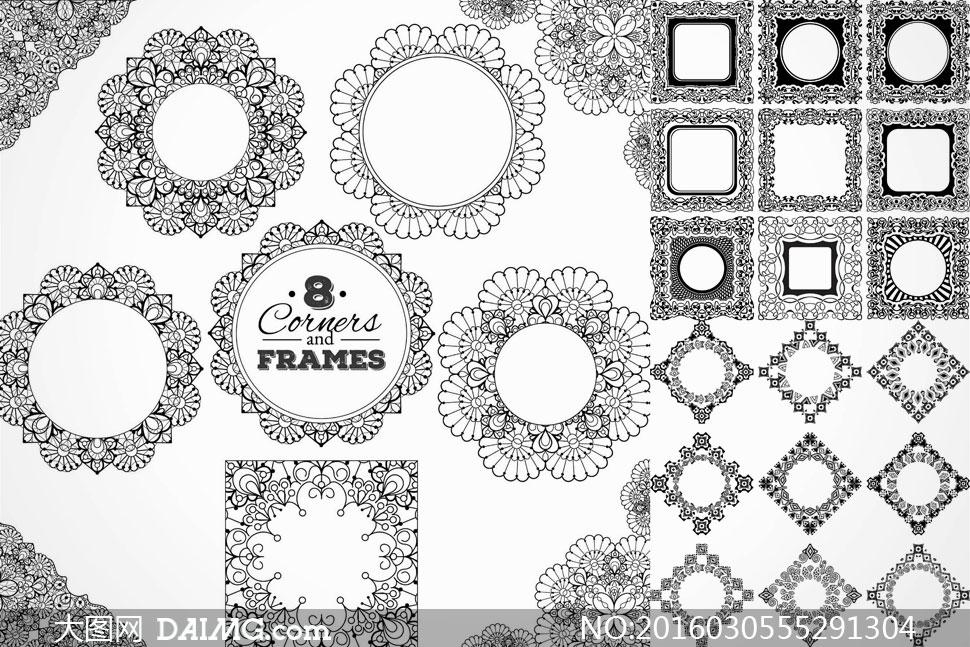 黑白花纹边框装饰图案设计矢量素材