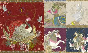 凤凰白马与海马等插画创意矢量素材