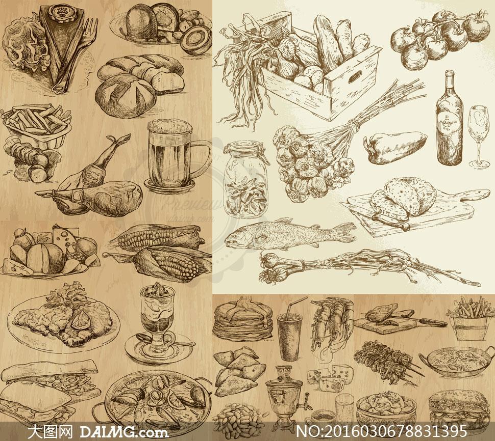 与饮料等食物矢量素材         蔬菜水果健康膳食主题创意矢量素材图片