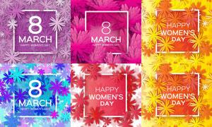 花朵图案三八妇女节主题矢量素材V4