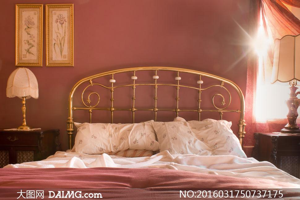 卧室房间金色豪华装饰摄影高清图片