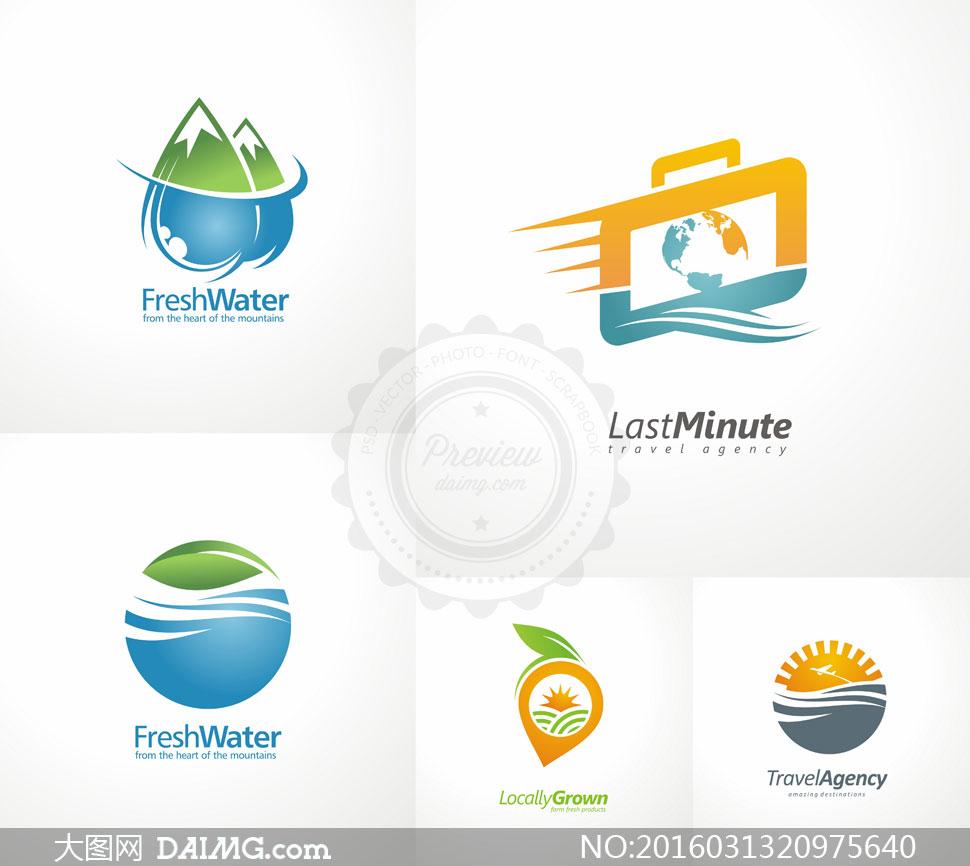 环球旅游与生态环保等标志矢量素材
