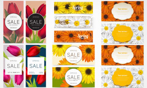 花朵等元素Banner设计矢量素材V5