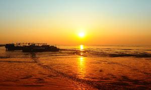 杭州湾美丽的日落景色摄影图片