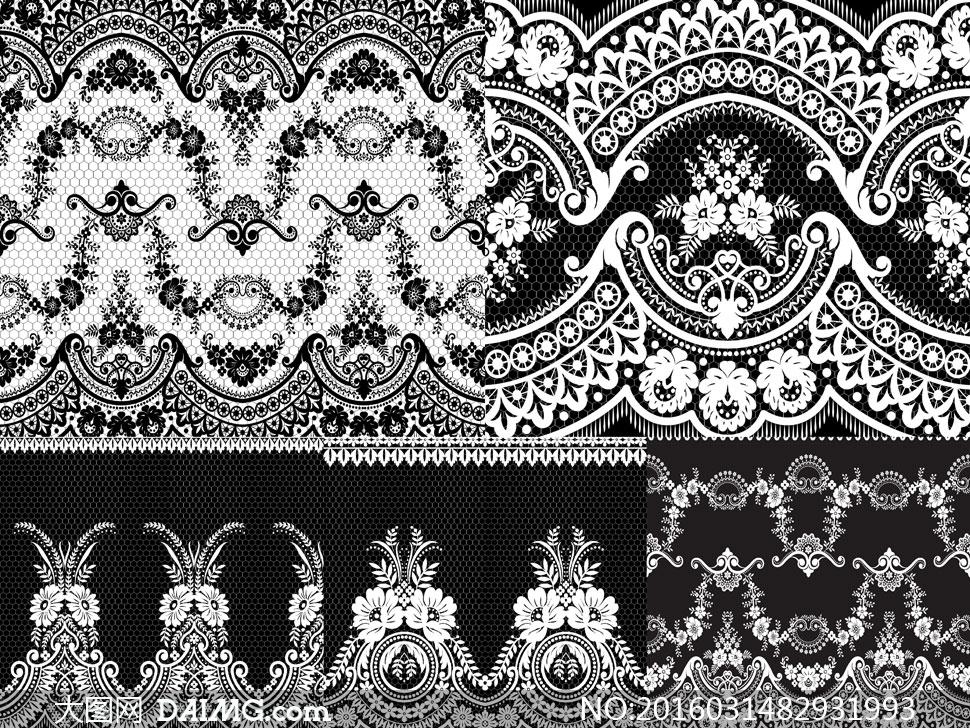 无缝黑白植物花纹蕾丝图案矢量素材