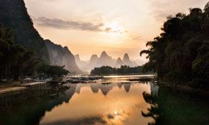 桂林山水黄昏美景摄影图片