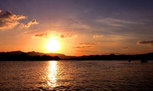 西湖夕阳美景摄影图片