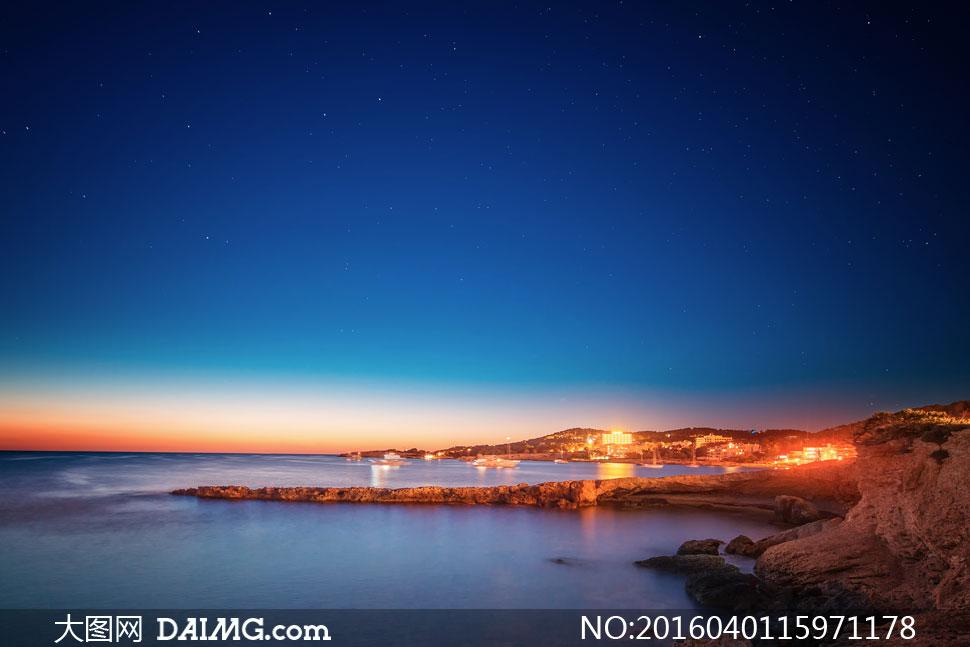 伊维萨圣安东尼奥夜景摄影高清图片