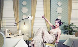 就餐中失去平衡的长裙美女创意图片