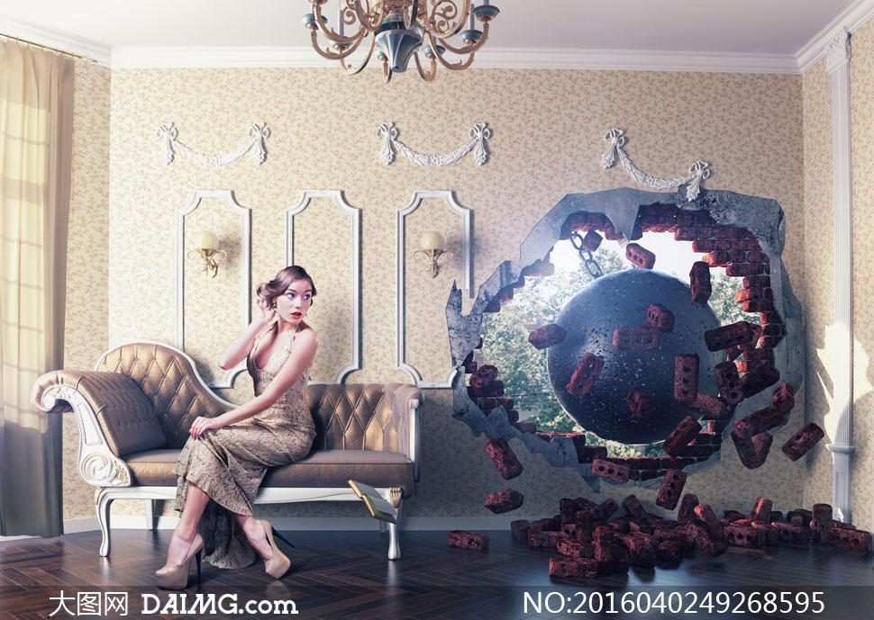 窟窿卷发唇妆红唇沙发房间欧式高跟鞋木地板壁灯吊灯