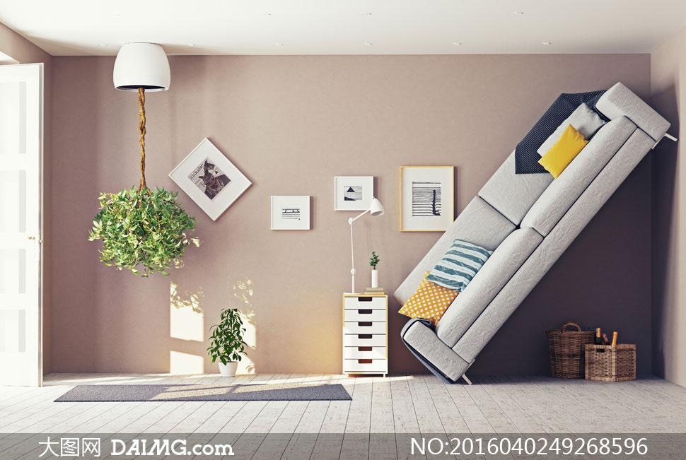 房间里的家具与反重力植物创意图片 - 大图网设计素材图片