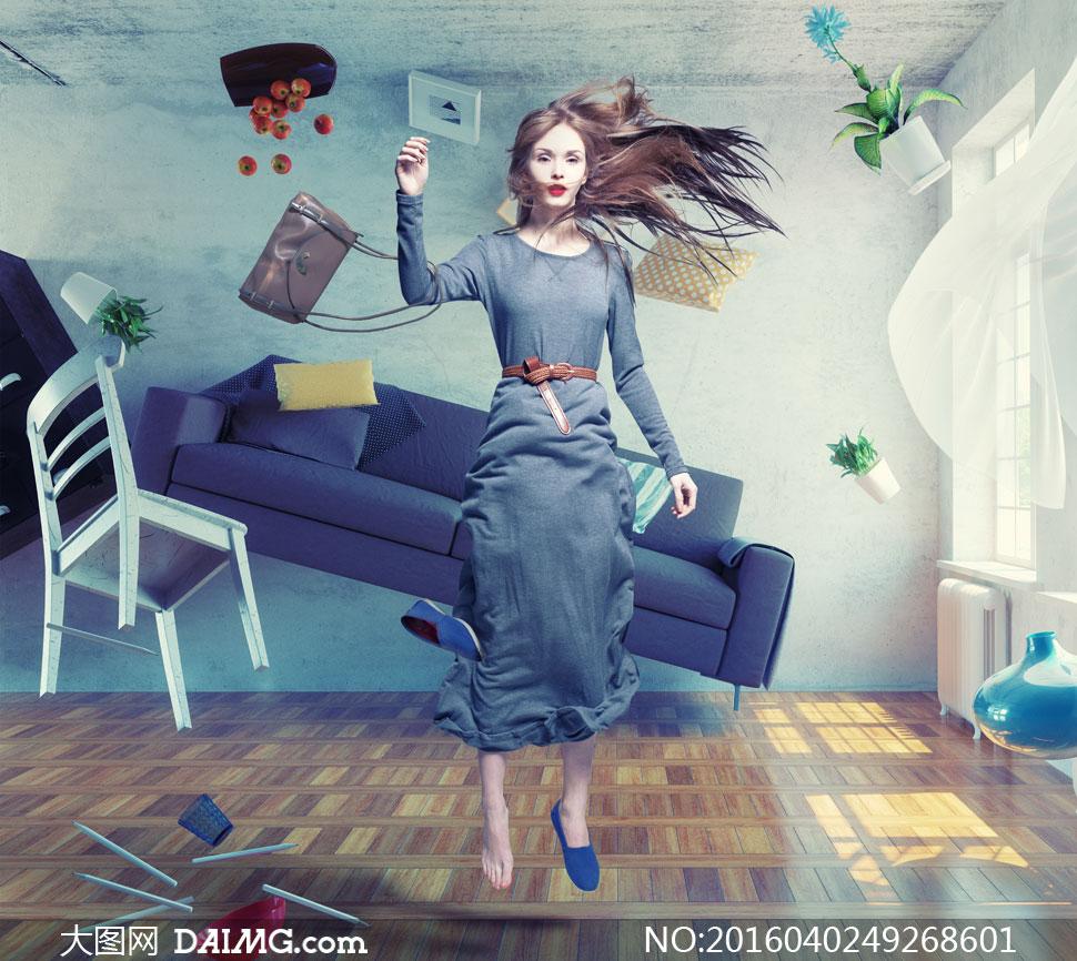 美女里悬浮着长裙情趣创意图片高清后庭自慰器房间阴茎按摩器图片
