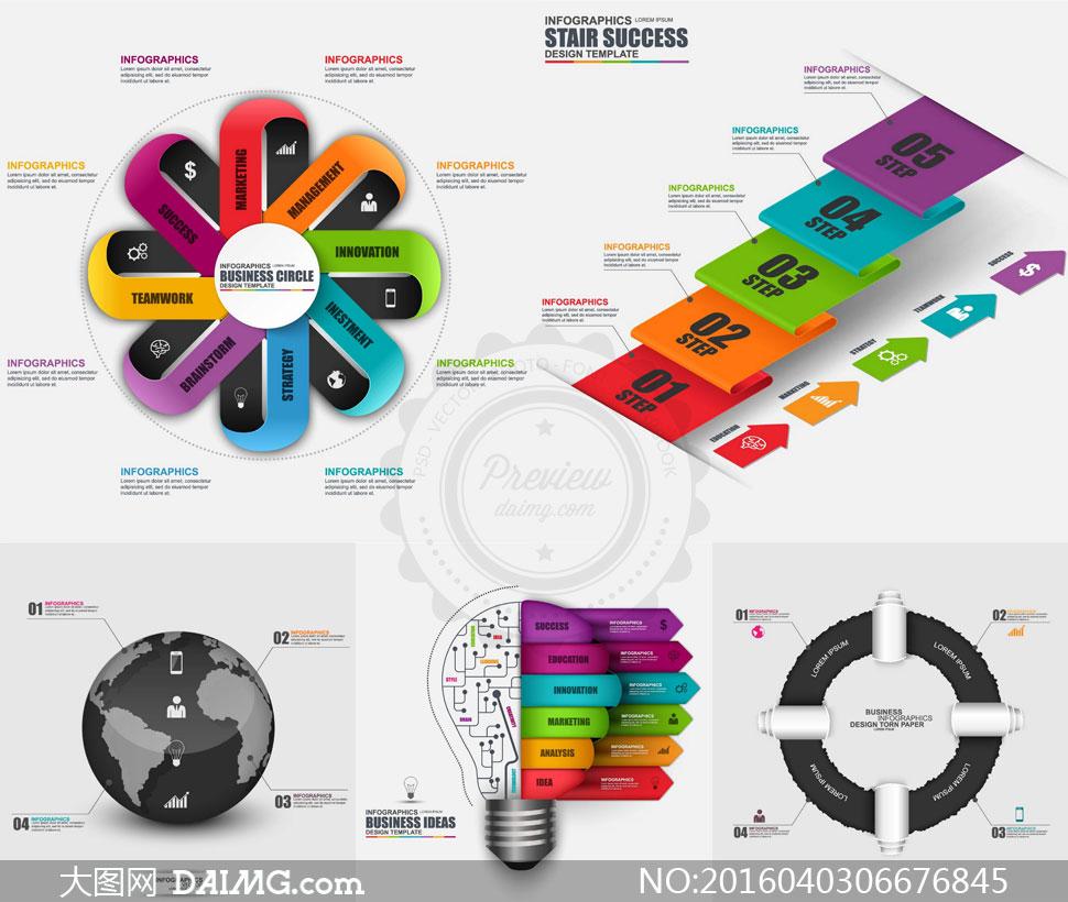 时尚流程图表等信息图创意矢量素材