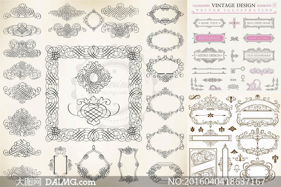 欧式风格复古花纹装饰图案矢量素材