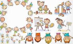 儿童兴趣爱好培养主题卡通矢量素材