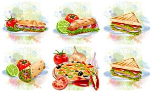 三明治披萨饼与番茄等食物矢量素材
