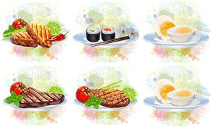 牛排寿司与蛋黄等美味食物高清图片
