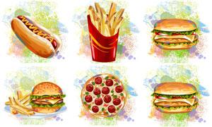 汉堡包薯条与披萨饼等美食矢量素材