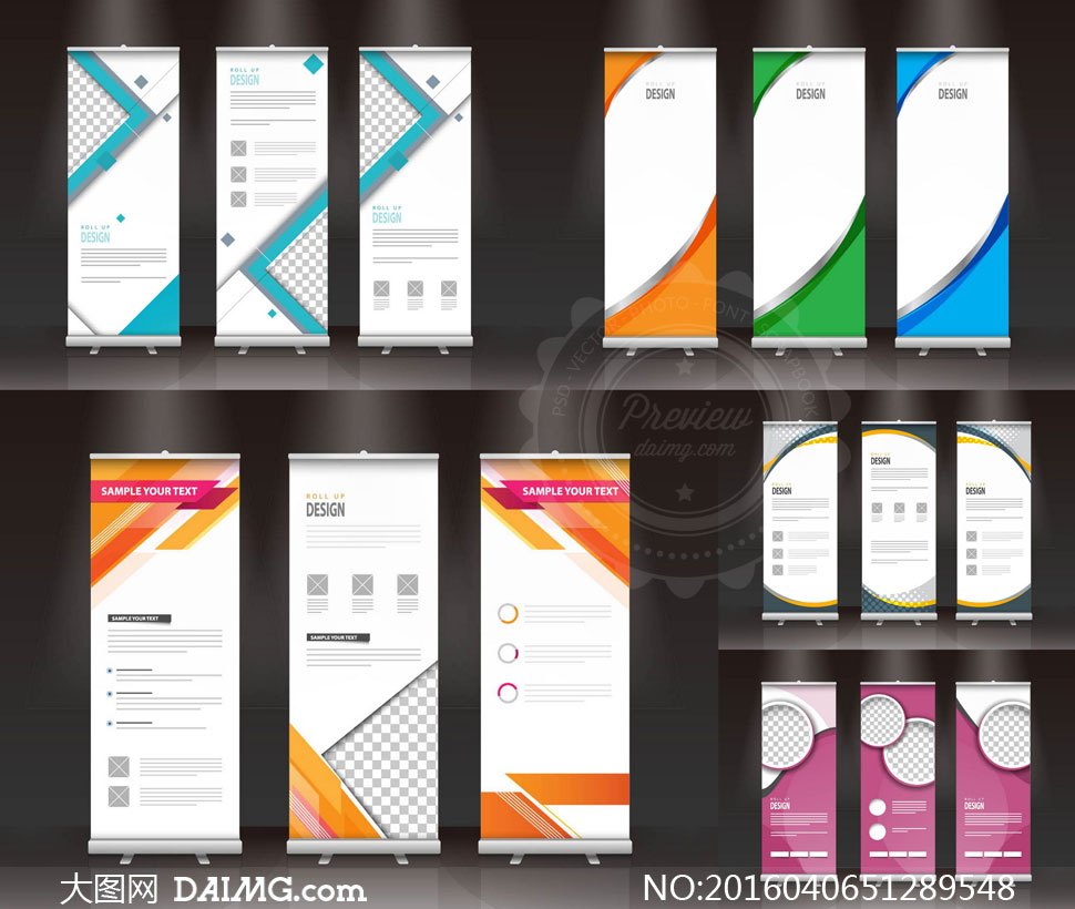 易拉宝展板版式设计模板矢量素材v13