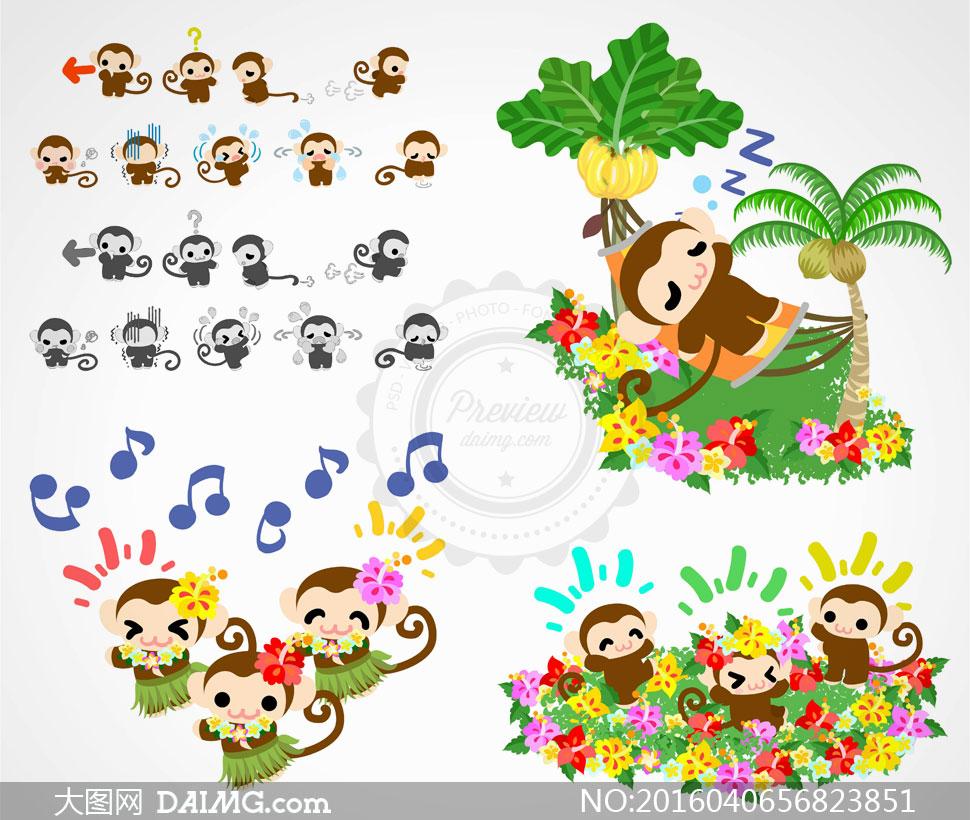 可爱卡通风格的小猴子创意矢量素材