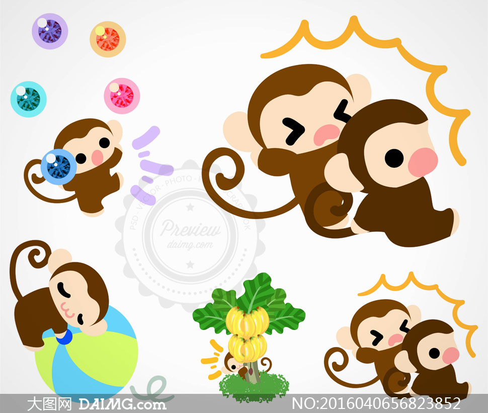 香蕉树与在玩耍的可爱猴子矢量素材