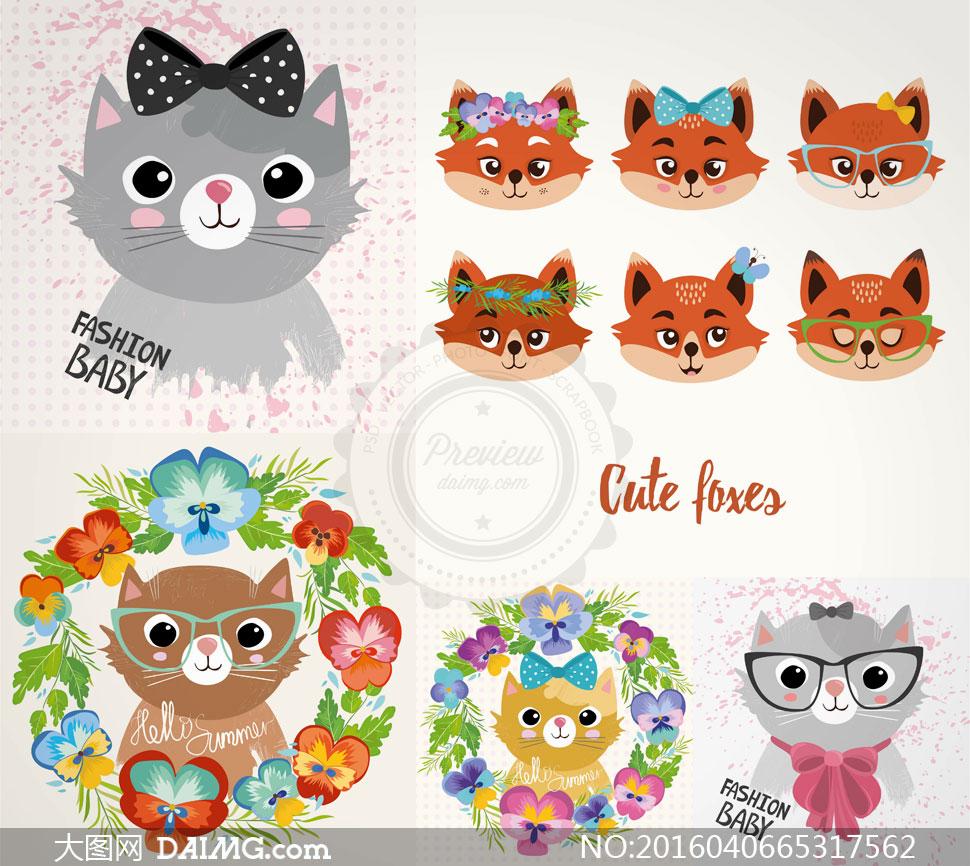 花朵边框与猫咪狐狸等创意矢量素材