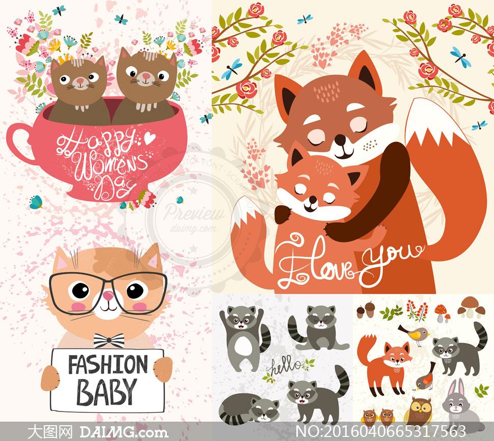 可爱卡通动漫动物猫咪小猫狐狸树枝鲜花花朵花卉狐狸