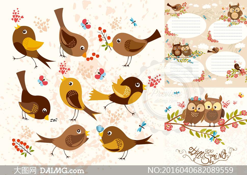 可爱卡通风光小鸟与猫头鹰矢量素材