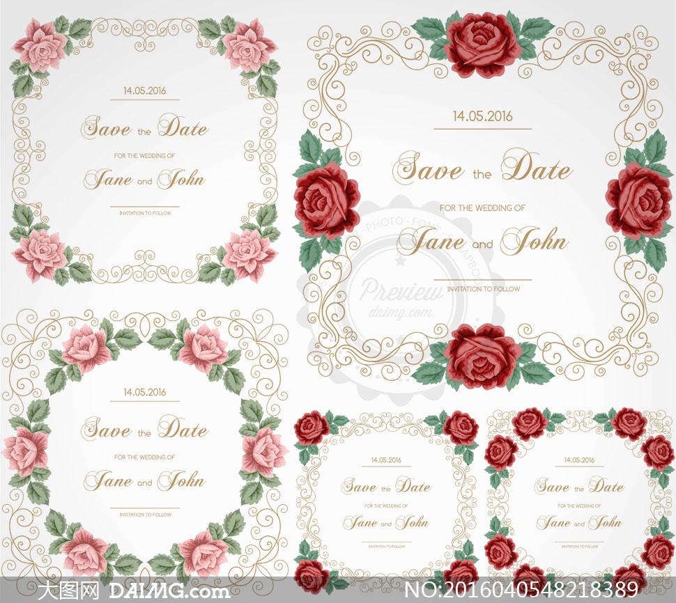 玫瑰花与花纹边框装饰元素矢量素材