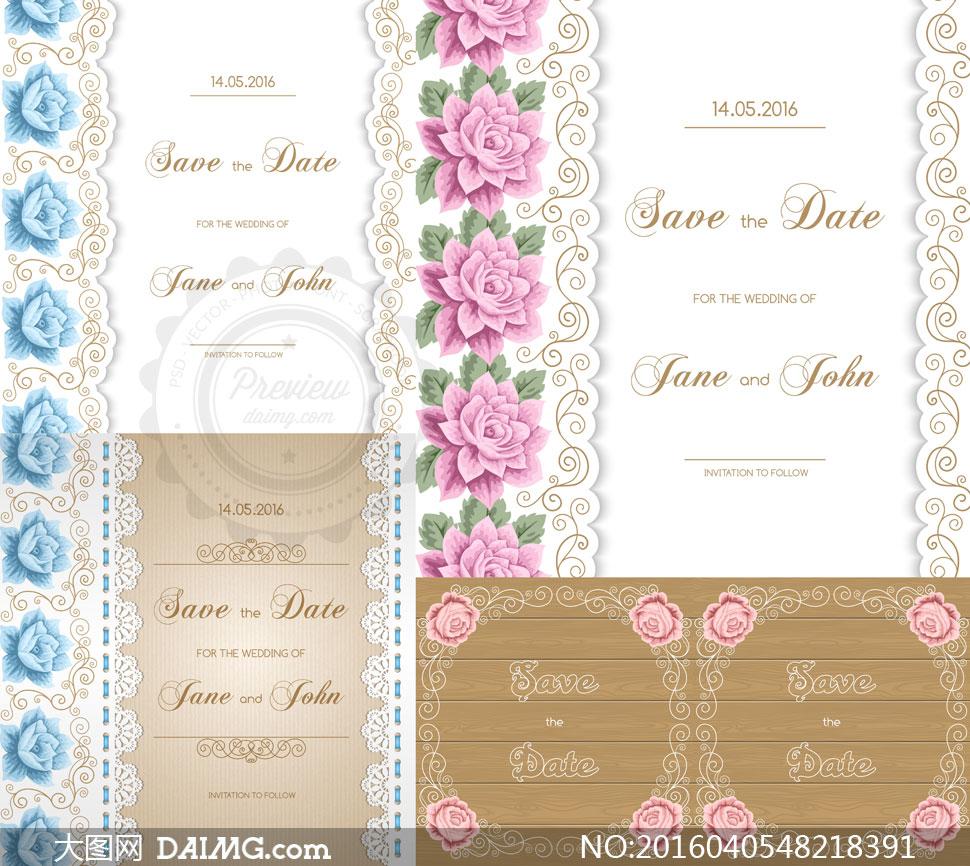 花纹边框与蕾丝图案等装饰矢量素材