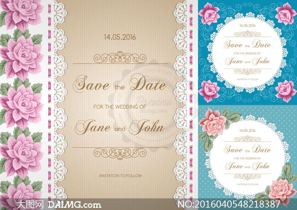蕾丝边框与花朵装饰图案等矢量素材