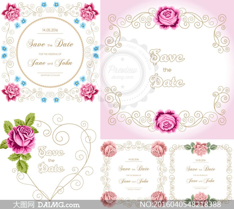 玫瑰花与花纹边框装饰元素矢量素材         蕾丝边框与花朵