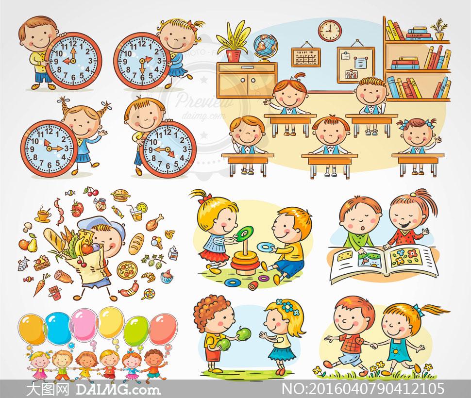课堂学习的卡通儿童人物等矢量素材
