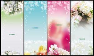 清新鮮花和花朵展板背景設計PSD素材