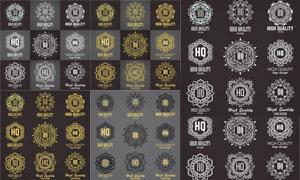 会徽纹章等花纹边框元素矢量素材V3