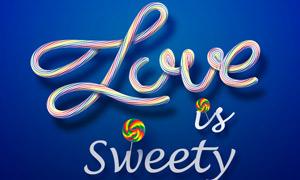 可爱的糖果字设计PSD源文件