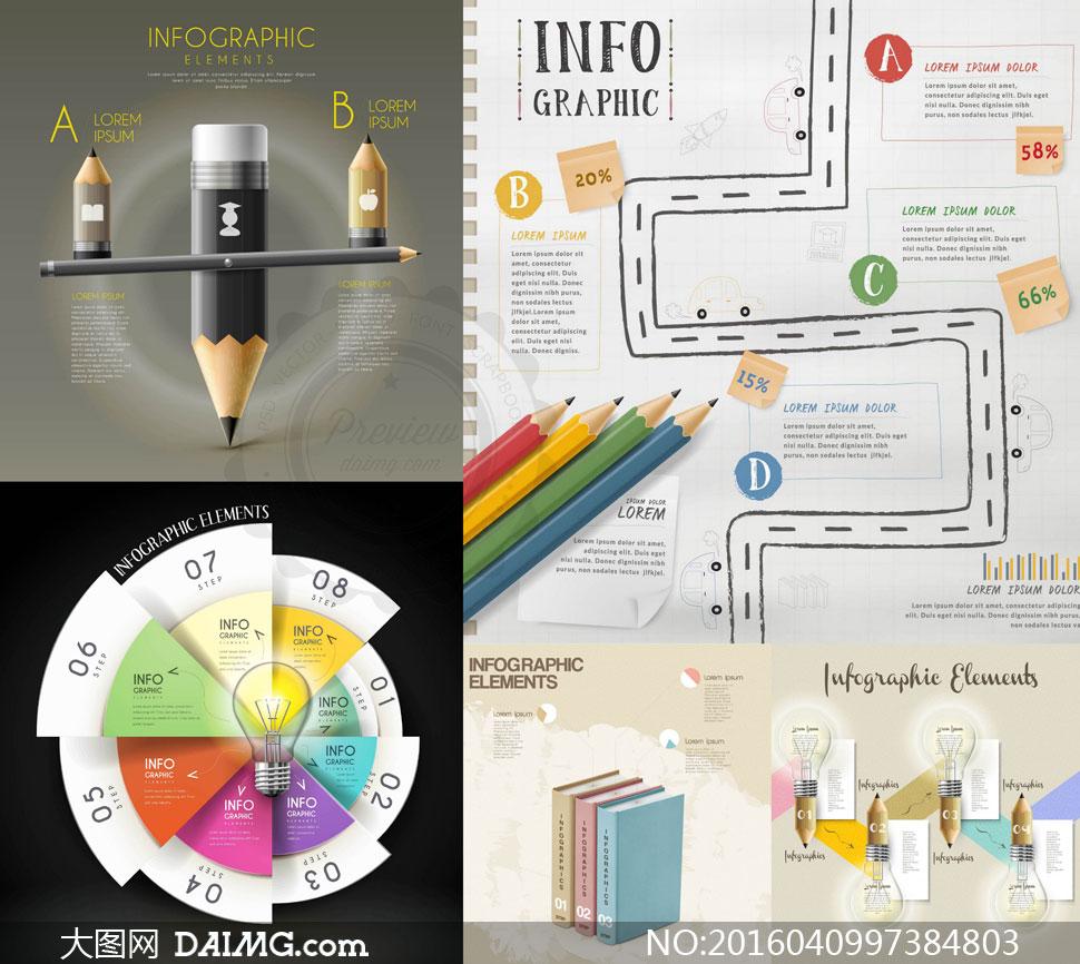 铅笔与饼状图等信息图创意矢量素材