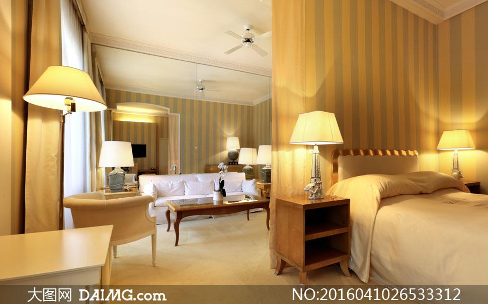 客厅卧室灯光照明效果摄影高清图片
