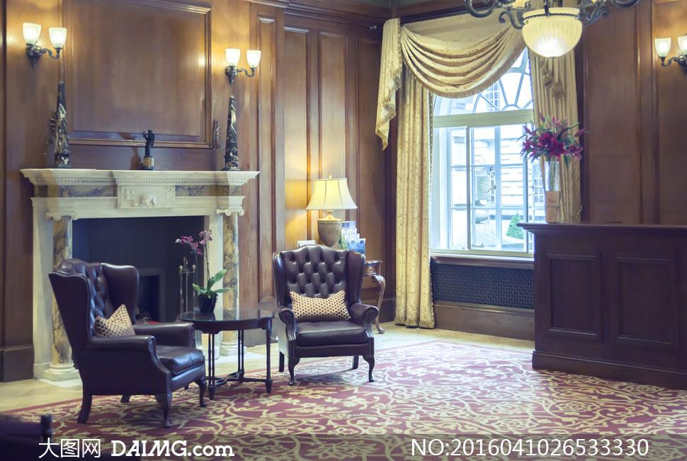 欧式奢华风格客厅摆设摄影高清图片