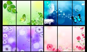 唯美夢幻花朵背景移門圖案PSD素材