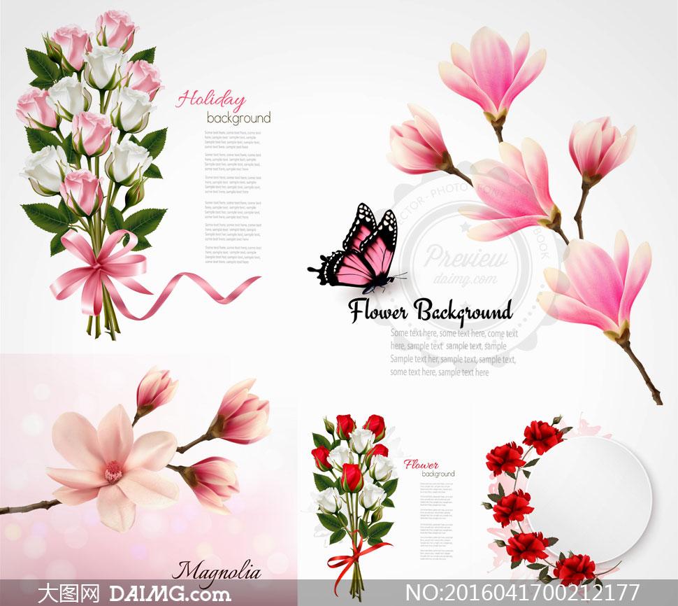 逼真玫瑰花木兰花与蝴蝶等矢量素材