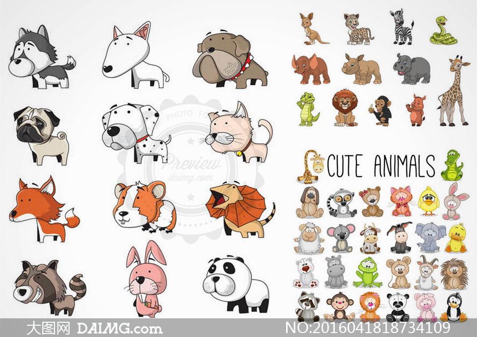 猫狗狐狸与犀牛大象等卡通矢量素材