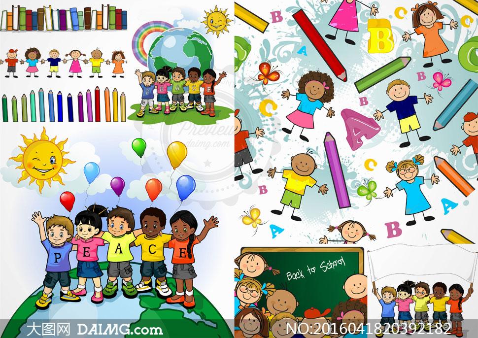 小学生儿童等卡通风格人物矢量素材