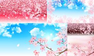 蓝天朵朵白云与樱花等美景矢量素材
